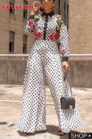 Fashion Polka Dot High-Waist Broad Leg Pant