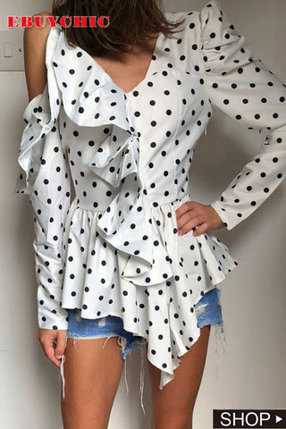 Fashion Polka Dot Sloping Shoulder Ruffled Irregular Shirt
