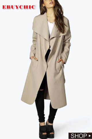 Fashion Pure Color Oversize Woolen Overcoat