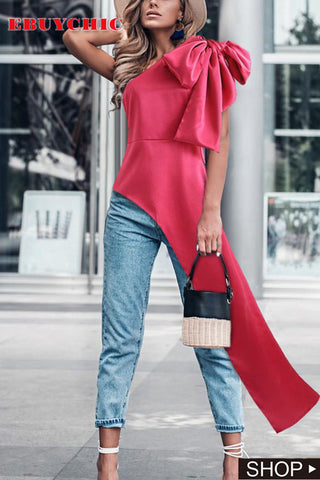 Fashion Sloping Shoulder Belted Blouse