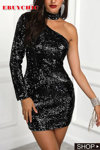 Fashion Sloping Shoulder Sequins Bodycon Dresses