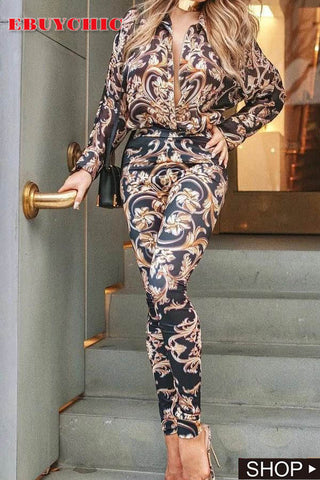 Fashion Vintage Printed Long-Sleeved Jumpsuits