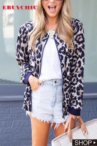 Fashionable Casual Leopard Print Jacket