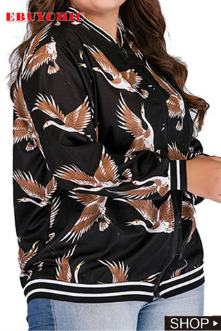 Long Sleeve Printed Large Size Zipper Coat