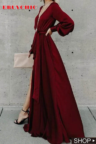 Sexy Deep V Long Sleeve Split Big Swing Jumpsuit