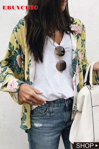Snap Front Floral Cardigans
