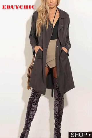 Turndown Collar Belted Trench Coat