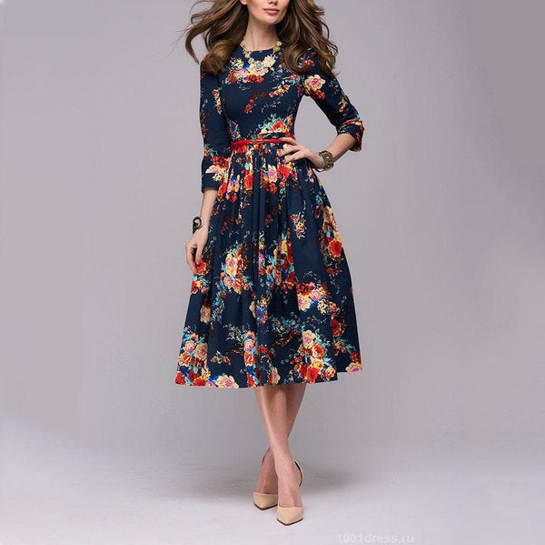 EBUYCHIC Fashion Round Neck Floral Printed Defined Waist 3/4 Sleeve Skater Dress
