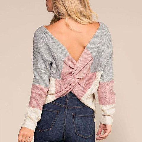 Irregular Back Cross Color Blocking Sweater