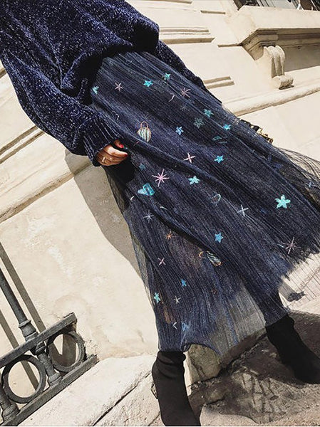 Fashion Pure Colour Sweater And Gauze Maxi Skirt