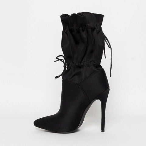 Stiletto Heel Elastic Plain Pointed Toe Thread Casual Boots