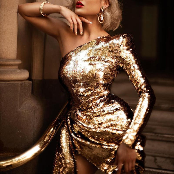 Women's fashion one-shoulder long-sleeved sequin dress