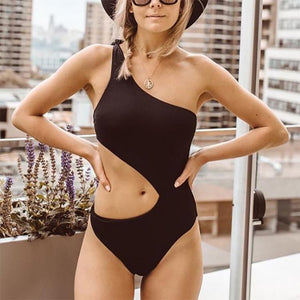 Female Sexy Pure Color Hollow One-Shoulder Swimsuit
