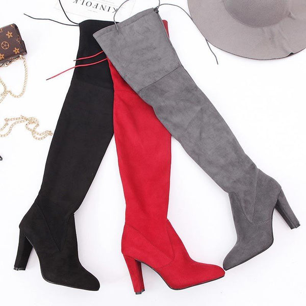 Plain Pointed Toe Chunky Heel Side Zipper Western Casual Boots