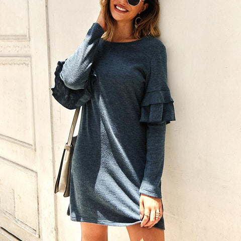 Long Sleeve Round Neck Knit Sweater Dress
