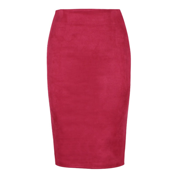 Women Solid Suede Multi Package Hip Pencil Midi Skirts