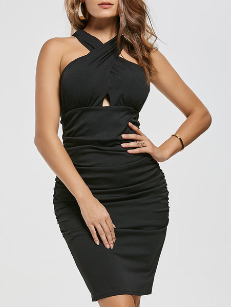 Cross Halter Eyelet Pleated Sleeveless Zipper Bodycon Dress