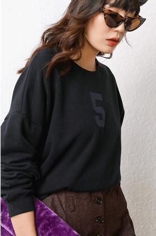 Women Funny Letter 5 Printed Casual Long Sleeve Hooded Sweatshirts