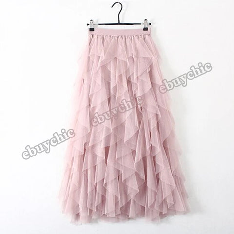 Fashion Tutu Tulle Women High Waist Pleated Long Maxi Skirt
