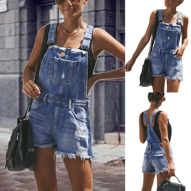 Spaghetti Strap  Backless  Overall  Plain  Sleeveless Denim Jumpsuits