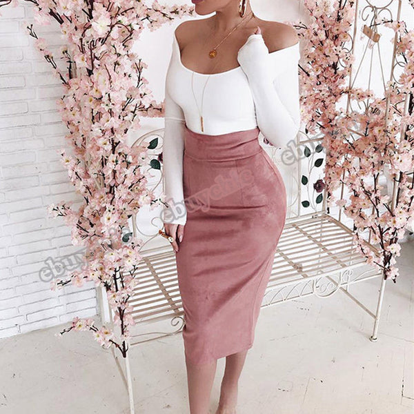 Midi High Waist Suede Elegant Fashion Slim Bodycon Back Slit Sexy Pencil Skirt
