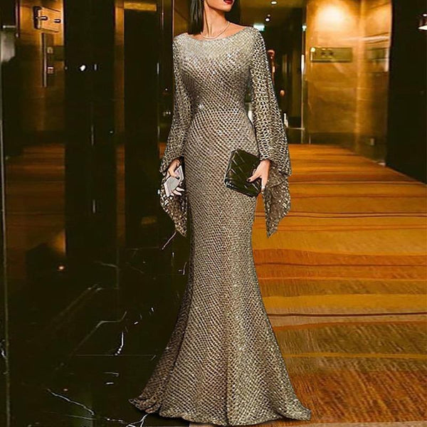 Elegant Solid Color Shiny Long Sleeve Slim Maxi Dress