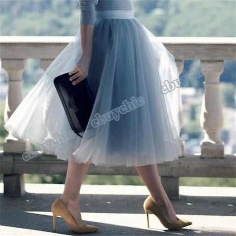 5 Layers Princess Pleated Dance Tutu Womens Midi Tulle Skirt