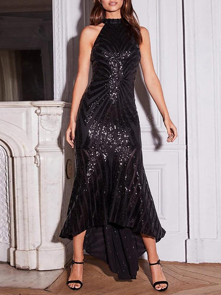 Fashion Round Neck Sequins Sleeveless Irregular Evening Dress