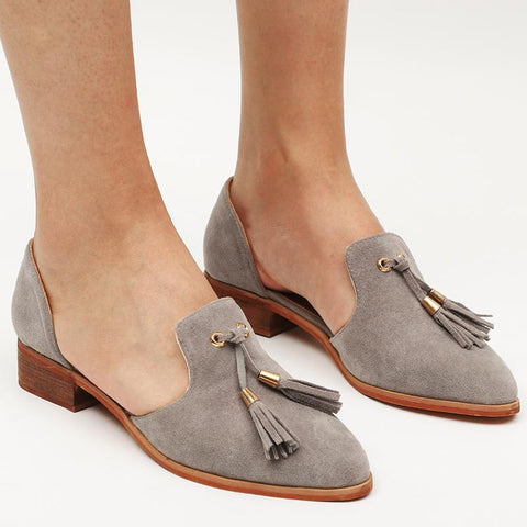 Plus Size Tassels Pointed Toe Low Heel Loafers