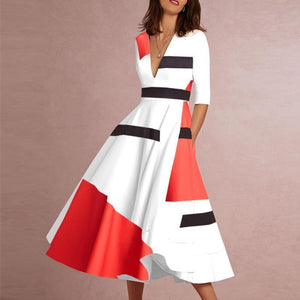 EBUYCHIC Deep V-Neck Abstract Geometric Printed Skater Dresses