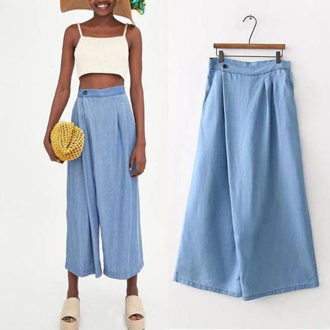 Cowboy Pleat Loose Wide Leg Pants