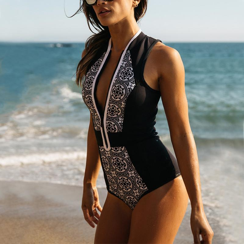 One-Piece Swimsuit With Vintage Printed Stitching