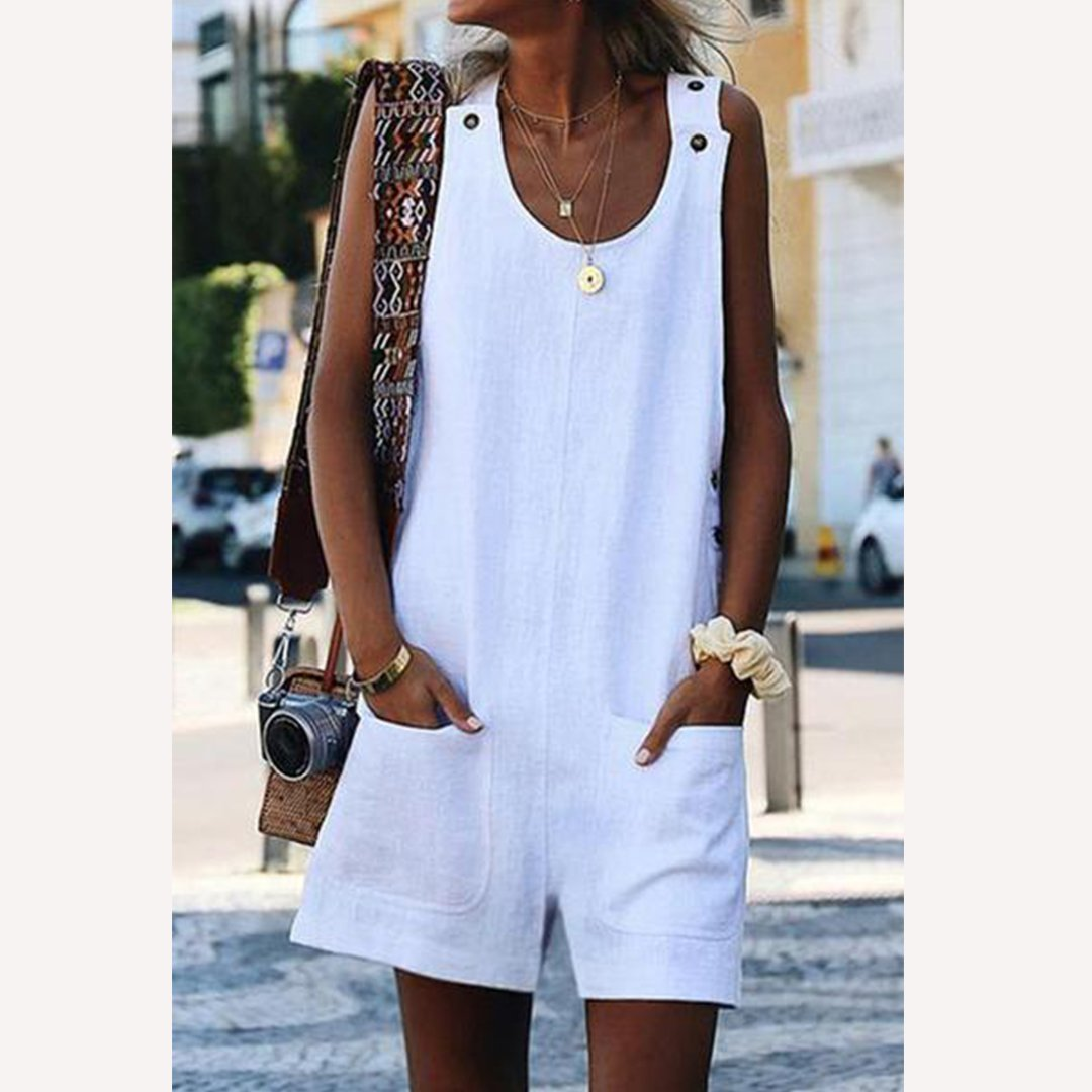 Round Neck  Patch Pocket Jumpsuits
