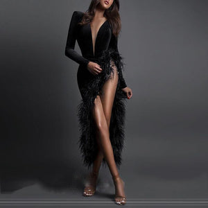 Fashion deep v-neck solid color raw edge decoration irregular hem evening dress
