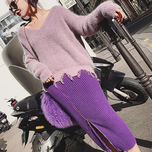 Fashion V Neck Knitted Sweater And Skirt