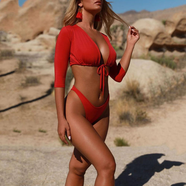 Sexy Bikini Solid Color Short Sleeve Split Swimsuit
