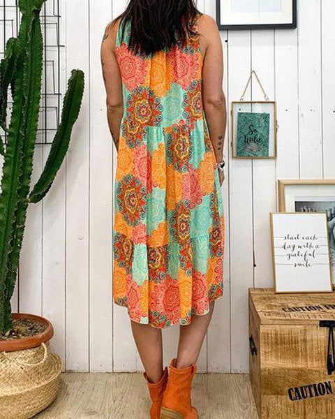 Loose V-neck printed sleeveless flower casual dress