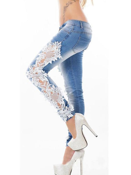 Decorative Lace Plain Slim-Leg Mid-Rise Bottoms