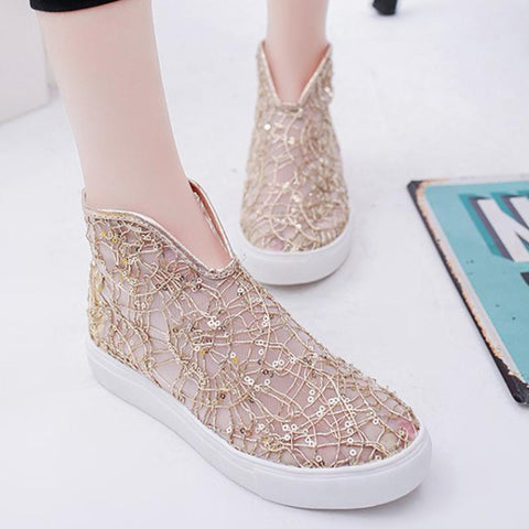 Mesh Lace Sequins Casual Shoes
