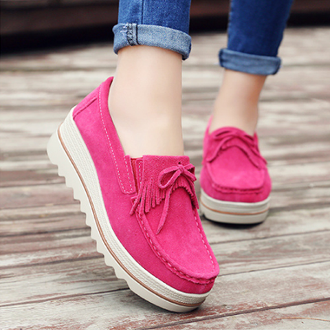 Tassels Suede Slip On Woman Platform Loafers