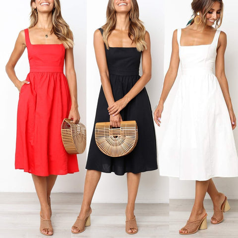EBUYCHIC Sexy Casual Sleeveless Plain Slim Skater Midi Dress