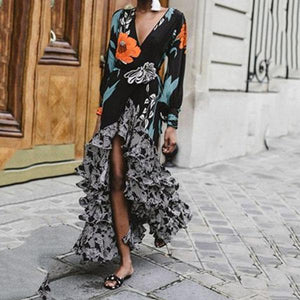 Fashion Sexy V Collar Print Long Sleeve Irregular Dress