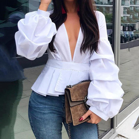 Fashion Deep V - Neck Lantern Long Sleeve Pleated Blouse