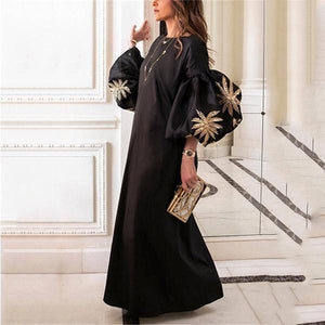 Round Collar Loose Bubble Sleeve Printing Maxi Dress
