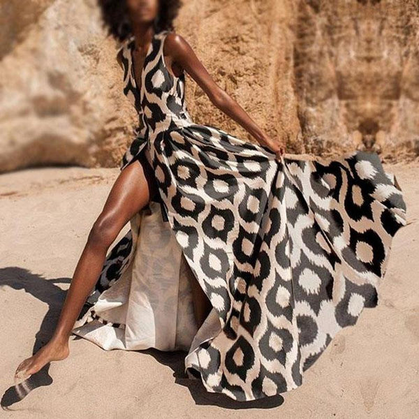 Sex Fashion Vintage Leopard Print Maxi Dress