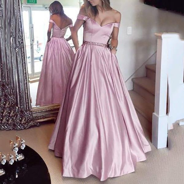 Off Shoulder Waist Pure Color Evening Dress