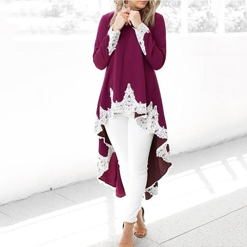 Irregular Lace Stitching Long Sleeves Shirt