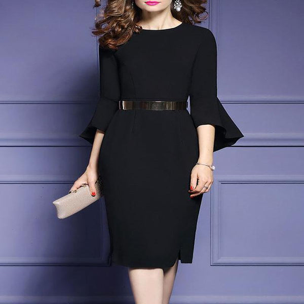 Crew Neck  Plain Bodycon Dress