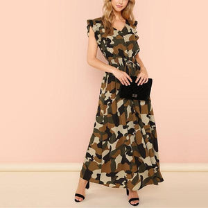 V-Collared Lace Waist Camouflage Print Dress