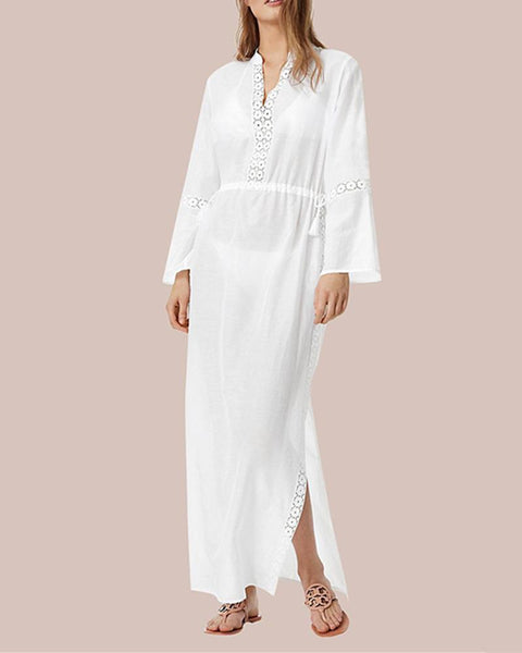 Lace Long Sleeve Beach Holiday Blouse  Maxi Dress